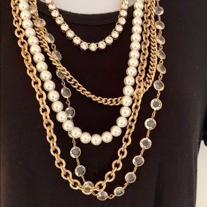 Multi chain necklace white crystal pearl gold